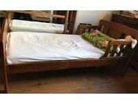 John Lewis Boris Toddler Bed, Antique Darkwood, walnut colour, mattress included. Used.