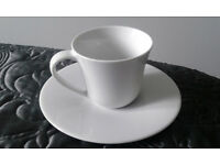 Stylish designer Alessi KU 2 x cup and saucer, white- boxed new, I have two boxes @ £10 each.