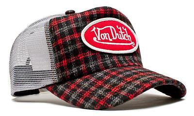 Authentic Brand New Von Dutch Gray/Red Flannel Cap - Flannel Cap