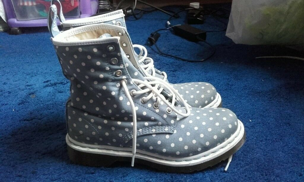 Dr Martens blue and white polka dot canvas boots, size 6 UK, EU 39, slightly used