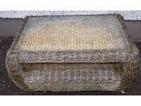 Outdoor wicker garden table with glass top,