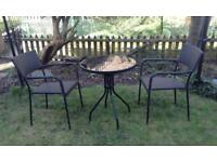Black outdoor table & chairs