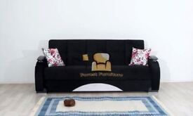 BRAND NEW Persian Fabric 3 Seater Sofa Bed Settee with Ottoman Storage & Pocket Sprung Seats