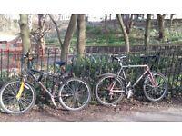 Two mountain bikes w/locks and tools