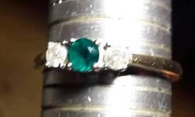 9ct hallmarked gold diamond and emerald ring