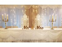LED BACKDROP, FLOWERWALL, TABLE CLOTHS, THRONE CHAIR, CHAIR COVER, CENTERPIECE, LIGHTS, PARTY DECOR