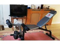 Marcy Diamond Elite work out bench with preacher curls and 20kg Weights