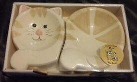 BNIB Pampered Pets Cat Feeding/Water Bowls