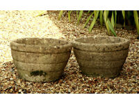 Pair of Large Weathered Garden Planters