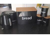 Kettle, toaster , bread bin and tea coffee sugar set