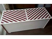 Quirky retro chevron ottoman blanket box chest barber shop