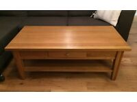 Lovely solid oak coffee table with drawer - pristine condition!