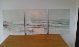 Oil Painting Triptych. Seascape.