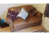 Real Tan Leather Vintage Style Two Seater DFS Sofa
