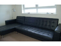 Orlando Designer Deluxe Large Black Faux Leather Corner Sofa Bed 3/4 Seater