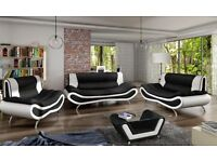 BRAND NEW Napoli Sofas 3+2+1 Seater &Coffee Table in Black/White, Black/Red, Brown/Cream, White/Grey
