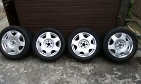 set of refurbished VW Beetle alloy wheels and tyres. 205/55/R16 . 6.50JX16. Buyer collect