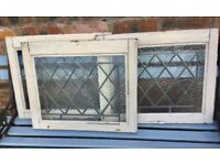 3 Vintage Wooden Window Frames, 1930s, Art Deco, Lead lined, reclaimed salvage yard