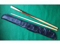 Snooker/Billiard Cue - Medium - Two Piece with Carry Case