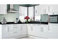 'Brand New' Slab white gloss kitchen £1195. Complete with appliance set and worktop.