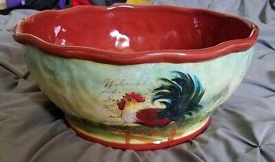 Susan Winget Le Rooster Serving Salad Pasta Bowl 11