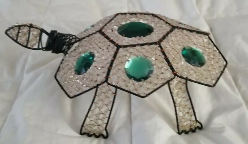Vntg 1950s Beaded Wire Turtle  with Green Mirrored Jewels
