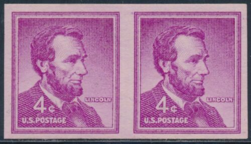 "#1058a Imperf Pair Error ""4¢ Lincoln"" F-vf Og Nh Cv $75 Bt6584"