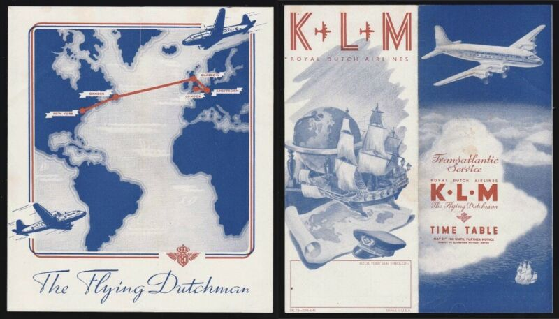 KLM Airlines 1946 Transatlantic Flight Schedule with route map