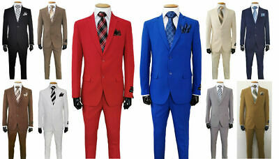 Men's Formal Slim Fit Suit 2 Piece Two Button Solid 10 Colors Jacket & Pants  2 Piece Jacket Pants