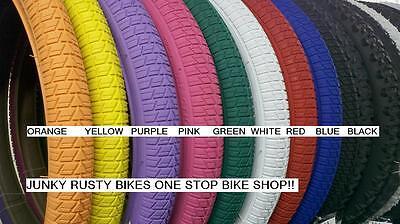 20x1.75 Bmx Tires 20 Red Blue Purple Green White Black Yellow Orange (2 Tires)