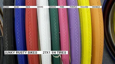 27X1 1/4 BIKE BICYCLE ROAD BIKE TIRES SOLID COLOR PINK RED BLUE BLACK WHITE