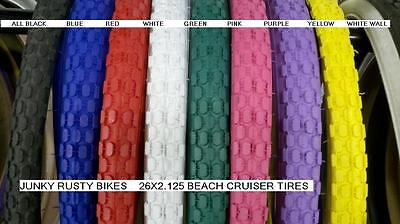 26x2.125 BEACH CRUISER BIKE LARGE BRICK TIRES SOLID COLOR (2 tires) & 2 TUBES