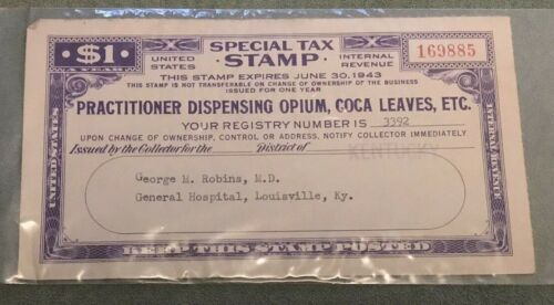 1943 Special Tax Stamp for Dispensing Opium, Coca Leaves, Louisville Kentucky