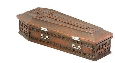 Brown Vampire Coffin Casket with Cross Jewelry Trinket Box
