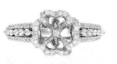 - Diamond Halo Engagement Ring Setting VS1 0.65ct 18k White Gold