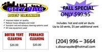 City Vac Duct Cleaning - $100 fall cleaning special