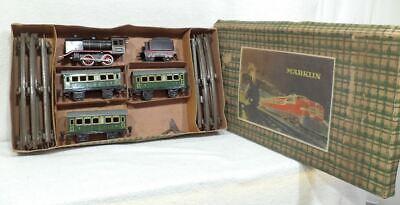 URALT ZEER OUD SPOOR O MARKLIN 4 delige set met R 890 en 3 wagens en rails MOOI