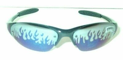 CHOOSE RED OR BLUE FLAMES ON ARMS BLACK PLASTIC FRAME FLAMES ON LENS (Red Plastic Sunglasses)