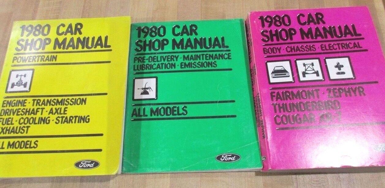 3 1980 Original Ford Car Shop Manuals Powertrain Body Chassis Electrical Pre-De(