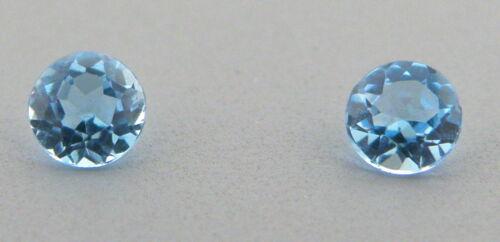 6mm MATCHING PAIR ROUND CUT NATURAL LOOSE SWISS BLUE TOPAZ