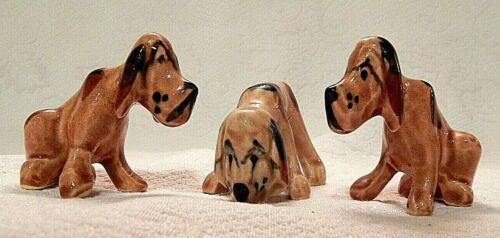 Set of 3 Vintage Hillbilly Hound Beagle Dogs Pottery Figurines