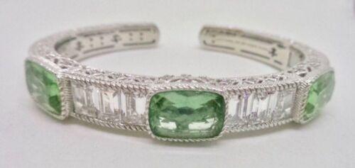 "Judith Ripka Sterling Silver 925 Fluorite Diamonique Baguettes Cuff Bracelet 7"""