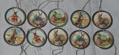 10 Nostalgic Prim Vintage Easter Bunny Metal Rim Hang Tags Mini Tree Ornaments  - Mini Vintage Halloween Ornaments