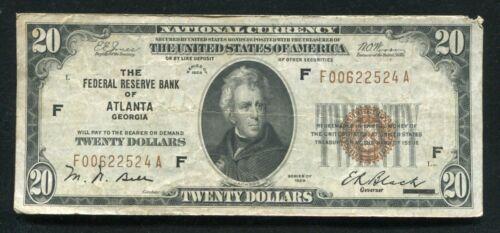 FR. 1870-F 1929 $20 FRBN FEDERAL RESERVE BANK NOTE ATLANTA, GA (C)