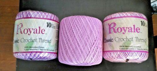 3 Balls ROYALE CLASSIC Thread Crochet Knit Tatting Embroidery 300 Yds Ea Purple