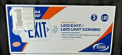 Lithonia Lighting Led Thermoplastic Casing Emergency Exit Sign With 2 Head Lamps