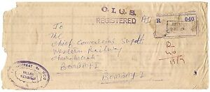 India-Refugee-Relief-local-overprint-on-5np-Service-on-Bakrol-registered-cover