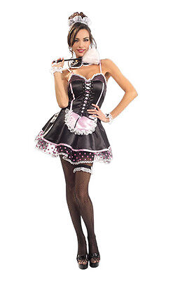 Naughty Dress Up Costumes (Naughty French Maid Chamber Upstairs Pink Dress Up Halloween Sexy Adult)