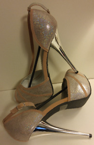 PROM PERFECT! Iridescent/Nude Open Toe Heels Ankle Strap - NEW