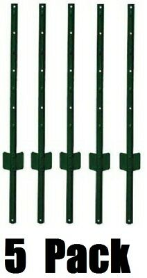 5 Pack Midwest Air Tech 901154a 4 Ft Light Duty U Style 14 Ga Steel Fence Posts